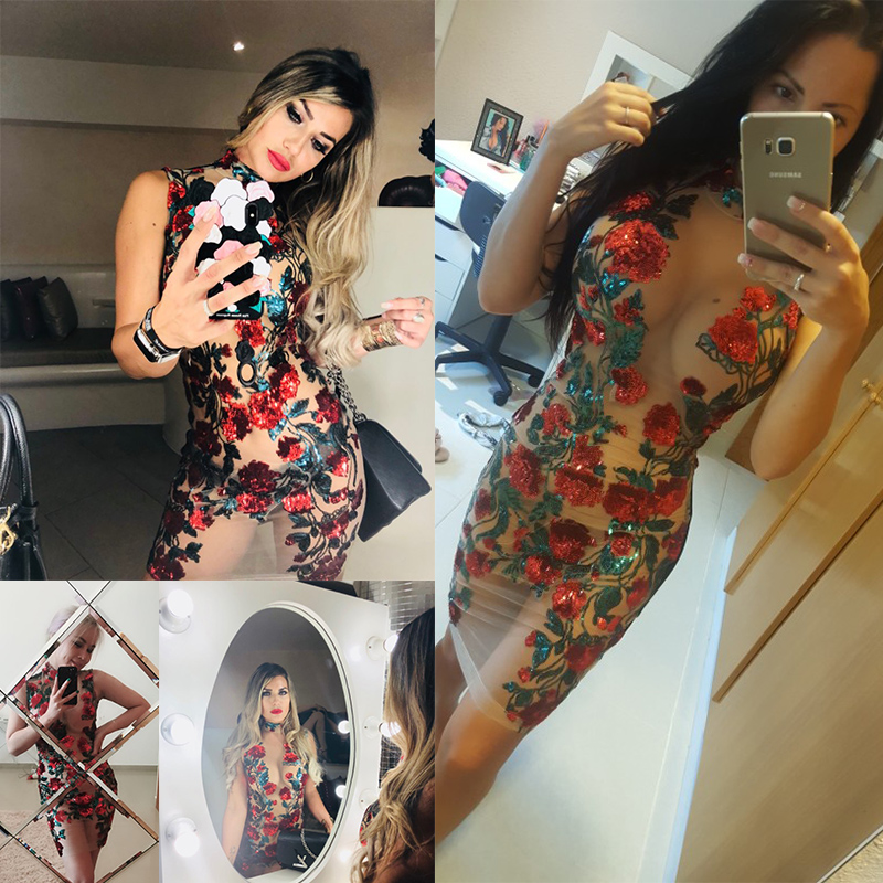 Image 2 - New Sexy Mesh Embroidery red Sequin Summer Dress Women Off Shoulder Perspective Luxury Night club bodycon Party Dresses vestidosDresses   -