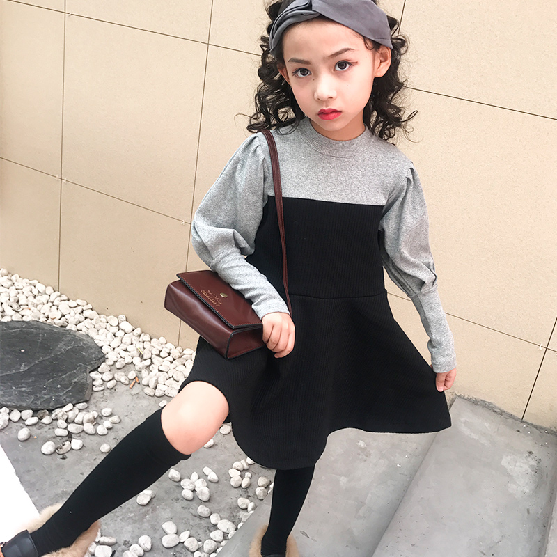 High quality girl stitching fake two-piece fashion long-sleeved dress 2018 autumn new big childrens dressHigh quality girl stitching fake two-piece fashion long-sleeved dress 2018 autumn new big childrens dress