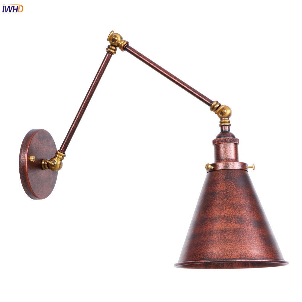IWHD Rust Arm LED Wall Lights For Home Indoor Lighting Stair Hallway Loft Industrial Edison Wall Sconce Lamp Applique Murale brass glass wall lights led vintage edison american home stair lighting living room adjustable arm industrial wall lamp sconce