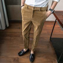 7ea468e67d906 Mężczyźni klasyczne sztruks formalnym garnitur spodnie męskie Slim Fit firm  CasualTrousers przypadkowi męskie suknia ślubna Pantalon