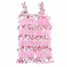 Baby Girls Rompers Pink Floral Petti Ruffle Lace Romper 1st Birthday Cake Smash Outfit Toddler Infant Jumpsuit(China)