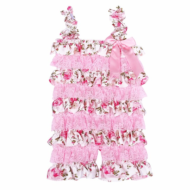 c9bb25a014ae Baby Girls Rompers Pink Floral Petti Ruffle Lace Romper 1st Birthday ...