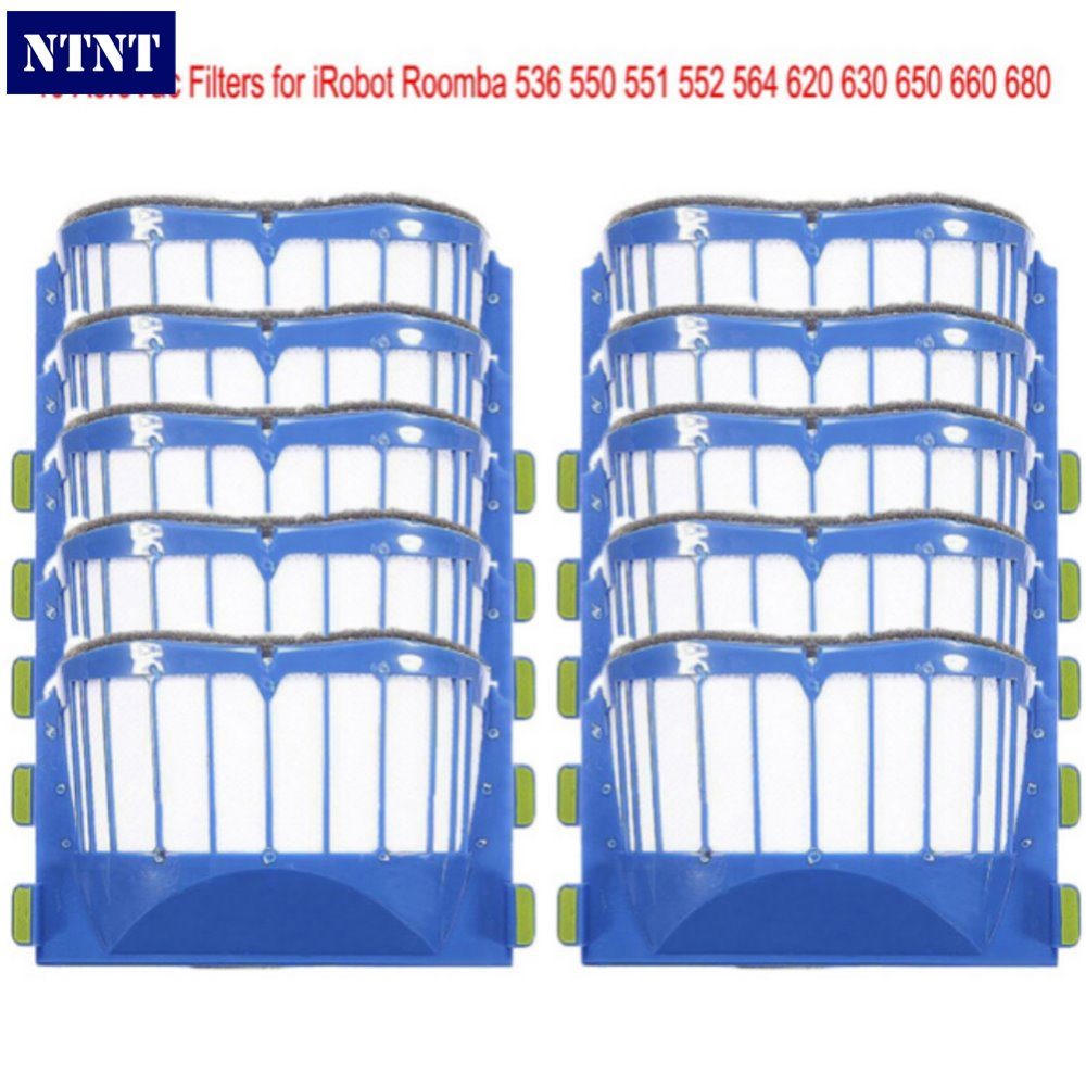 NTNT 10 pcs AeroVac Blue Filters For irobot roomba 536 550 551 552 564 595 Series 600 610 615 620 630 650 660 Series битоков арт блок z 551
