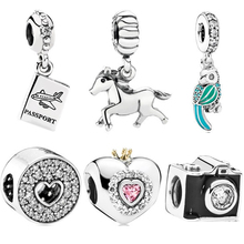 1pc Horse Dird Camera Aircraft Silver Mickey Minnie DIY Bead Fit Original Pandora Charms Silver Bracelet Trinket Jewelry Women цена