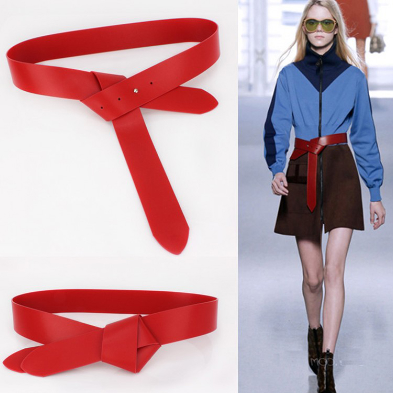 New Fashion Designer red wide soft PU leather tie   belt   for women strap   belts   Luxury black long DIY Bowknot tie design lady dress