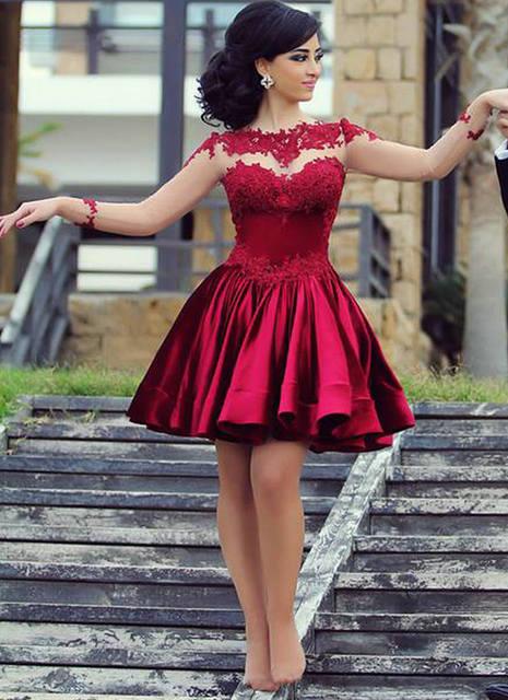 a34df4034 2015 del satén de borgoña encaje vestidos cóctel dijo Mhamad corto de baile vestidos  largos manga