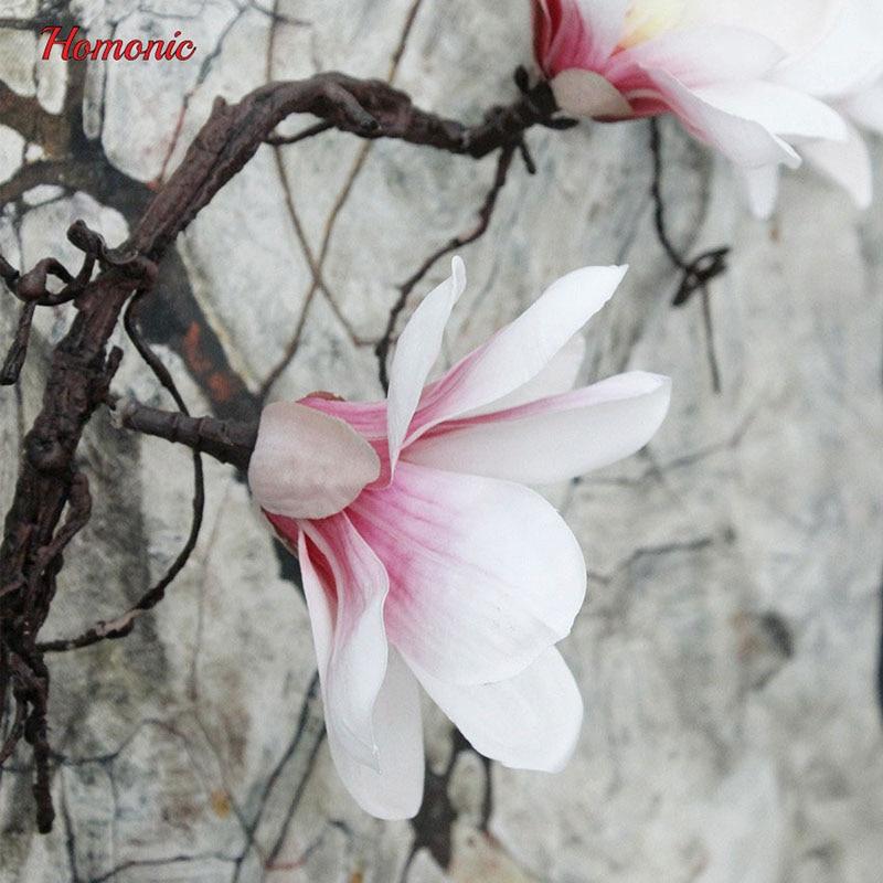 Kunstlill Magnolia Silk Fake Lilled Branch boutonniere Flores pulmade - Pühad ja peod - Foto 6