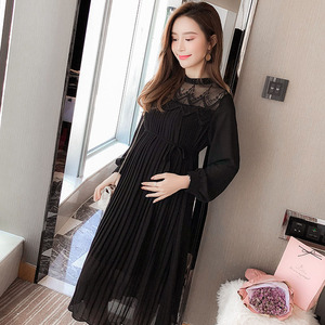 Image 2 - High Quality Chiffon Dresses Maternity Clothes For Pregnant Women Long Sleeve Pleated Dresses Pregnancy Maternity Vestido Spring