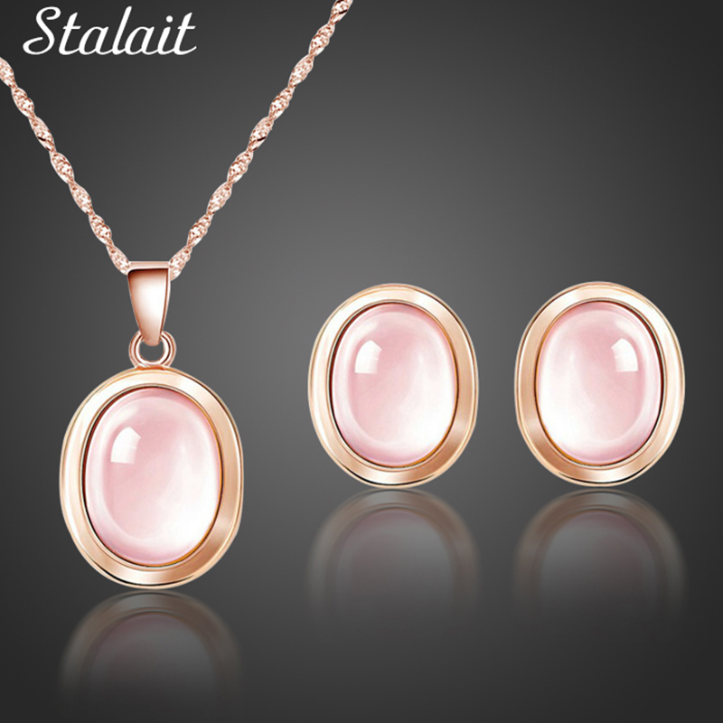 High Quality Natural Stones QUARTZ Clavicle Chain Necklace Pink Stone Earrings Wholesale necklace Jewelry Set For grandma Mum