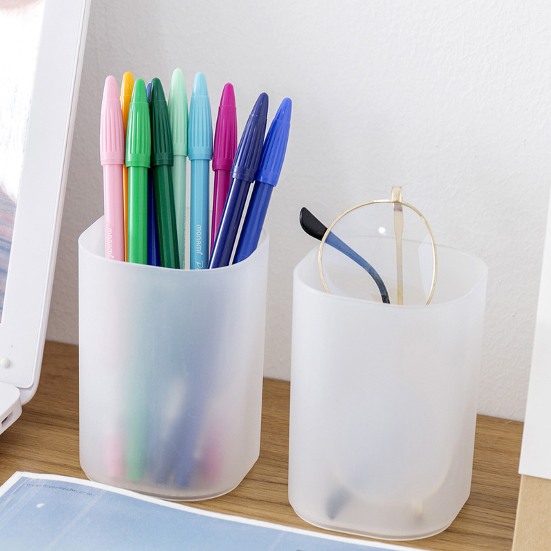 Concise Style Creative Plastic Pen Container Simple Pure Color Desktop Pencil Case Office School Stationery