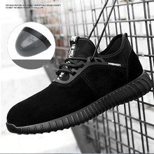 Men's Breathable Cow Suede Leather Safety Shoes Steel Toe Work Boots Anti-slip Puncture Proof Safety Boots Lightweight Sneakers