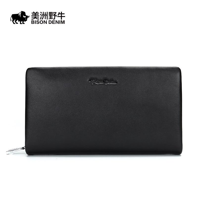 BISON DENIM Men Genuine Leather Business Large Capacity Clutch Bag New Handbag High Quality Men's Purse Cowhide Wallet Free Ship
