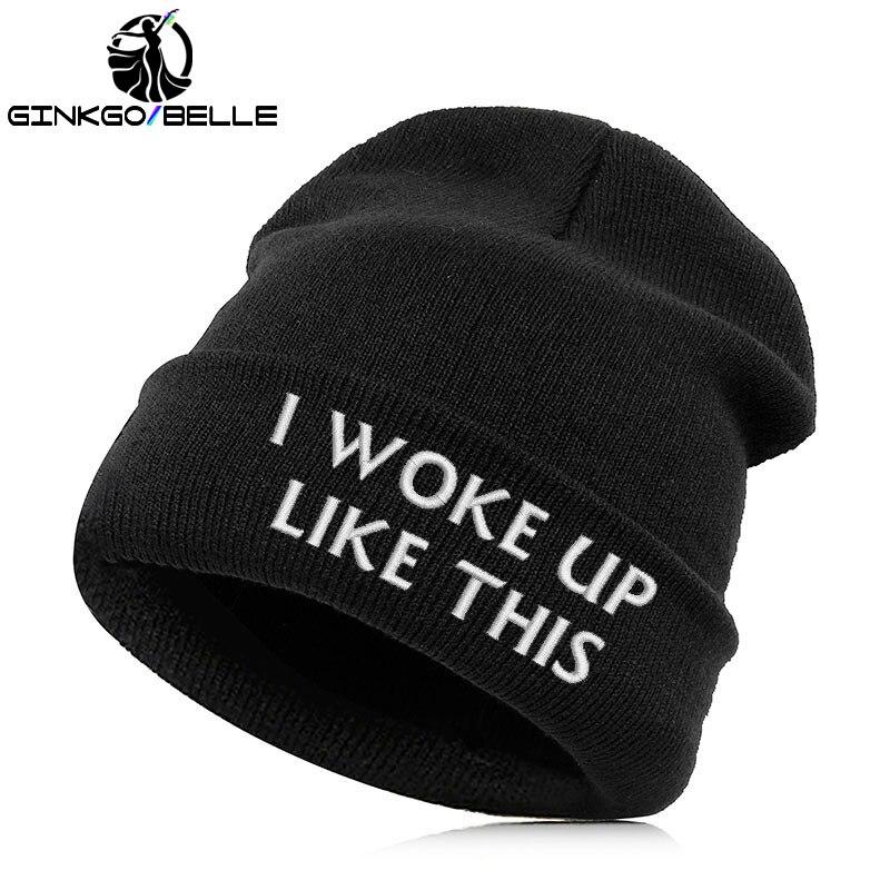 307a48cdeadd0 Detail Feedback Questions about Beanie Hat Skullie Cap Slouchy Winter  Autumn Embroidery Cool Punk Men Women Teen Street Dance Funny Hip hop i  woke up like ...