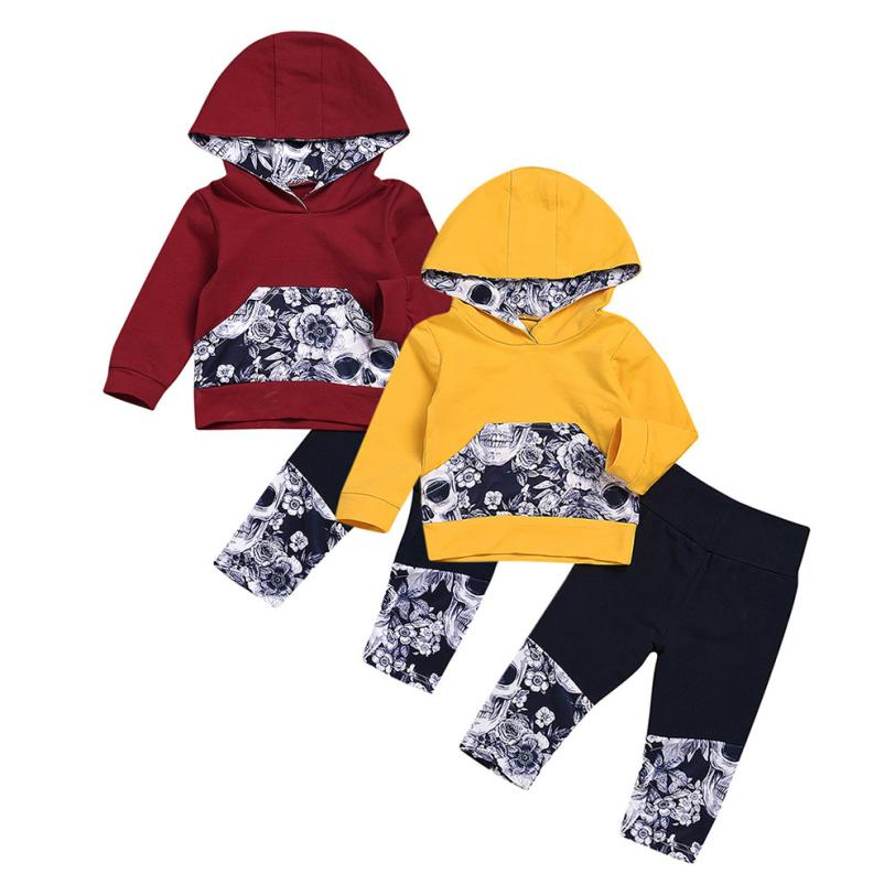 f4dbbeb05ab Best buy Newest Baby Clothing Girls Boys Flower Skull Bone Printed Hooded  Tops+Pants Outfits Set Newborn Baby Girl Clothes Baby Clothes online cheap