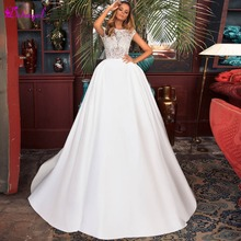 Detmgel Sexy Backless A-Line Wedding Dress 2019 Cap Sleeve