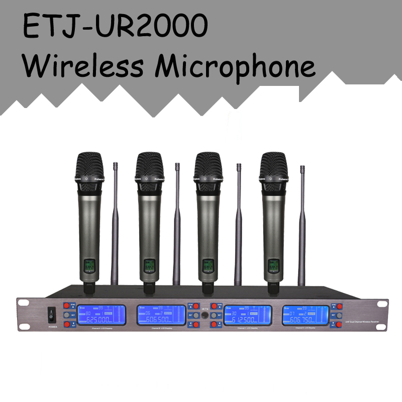 ETJ Brand Professional UHF Wireless Microphone 4 Transmitter Handheld Stage Performance UR2000