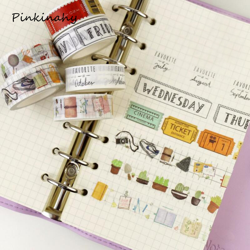 1.5cm*7m Week Pattern Washi Tape DIY Sticky Decoration Scrapbooking Planner Masking Adhesive Tape Label Sticker Cute Stationery aagu 1pc 8mm 7m label stationery red black dot stripe washi tape decorative masking tape lovely high viscosity paper sticker