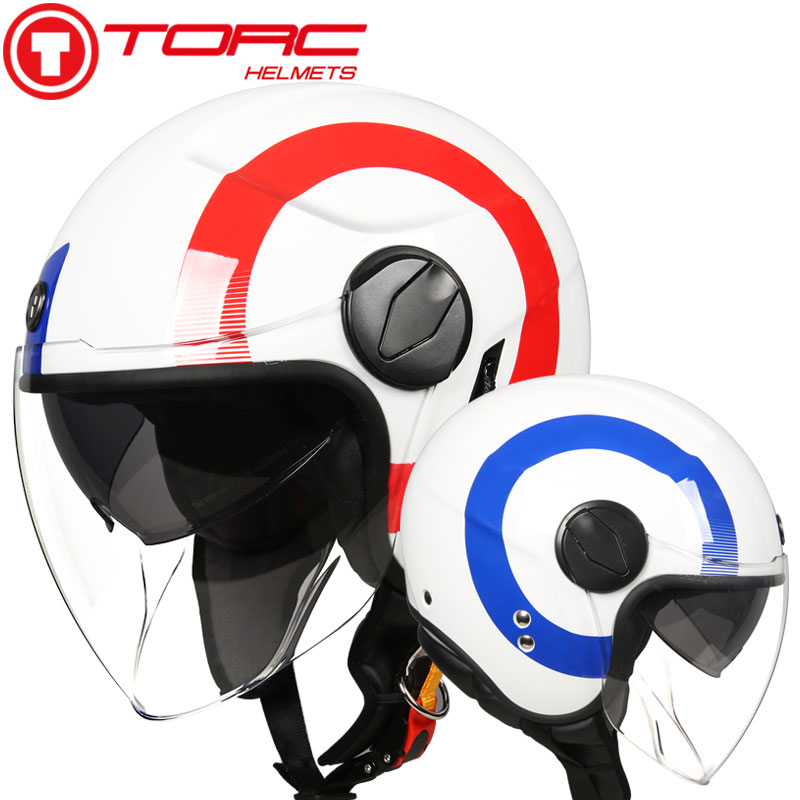 TORC T595 jet casque moto rcycle visage ouvert casque rétro personnalisé moto rbike double visière casque capacete moto vespa casque DOT
