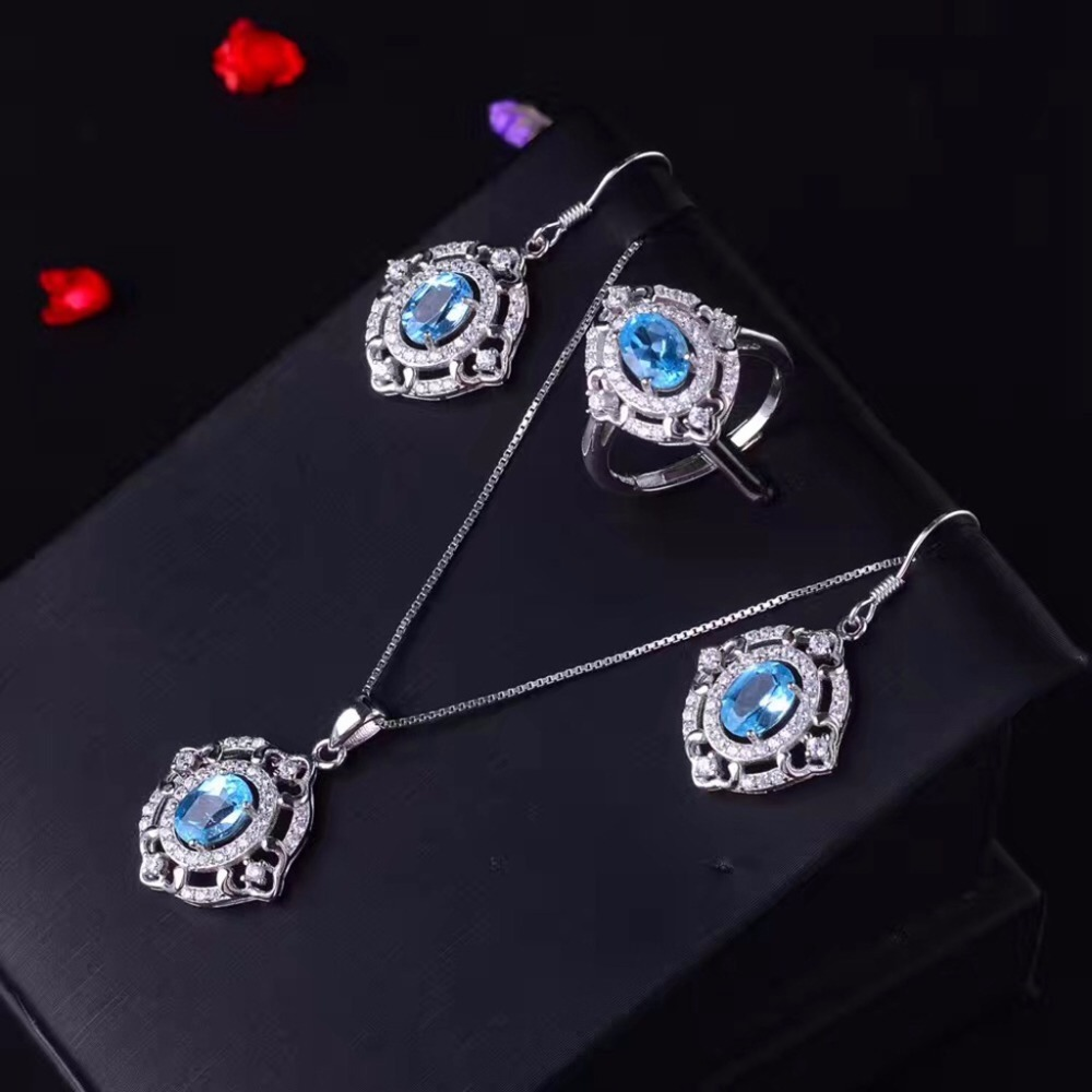 MeiBaPJ Natural Blue Topaz Jewelry Set 925 Pure Silver Ring Earrings Pendant Necklace 3 Suits Fine Wedding Jewelry for Women anniversary ring necklace earrings jewelry set natural aaa blue topaz stone birthstone woman fine 925 sterling silver jewelry