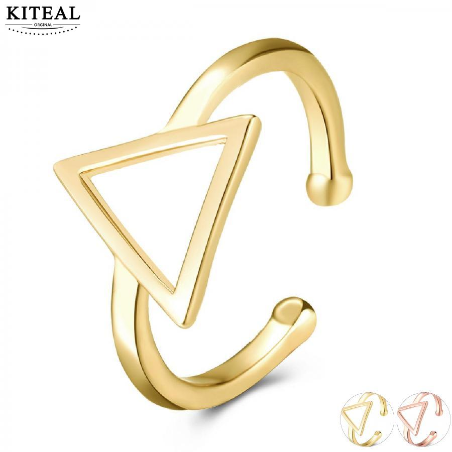 KITEAL Hot sale! Gold color Antique Yellow/Titanium Plated color size 8 Perfume women ring geometry anillos joyas