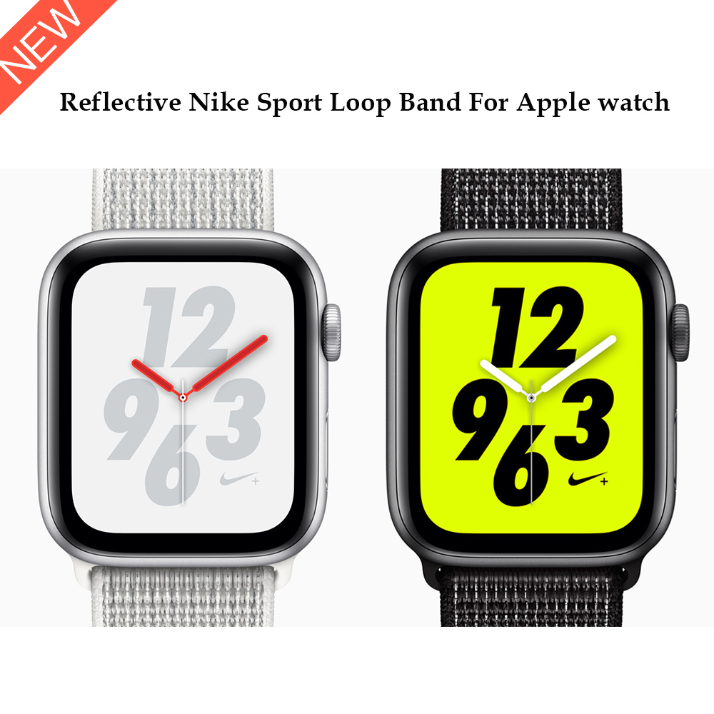 Reflective 2018 Nylon Sport Loop band for Apple Watch Nike Series 4 44mm 40mm strap watchband for iWatch 42mm 38mm Series 4 3 2 20 colors sport band for apple watch band 44mm 40mm 38mm 42mm replacement watch strap for iwatch bands series 4 3 2 1