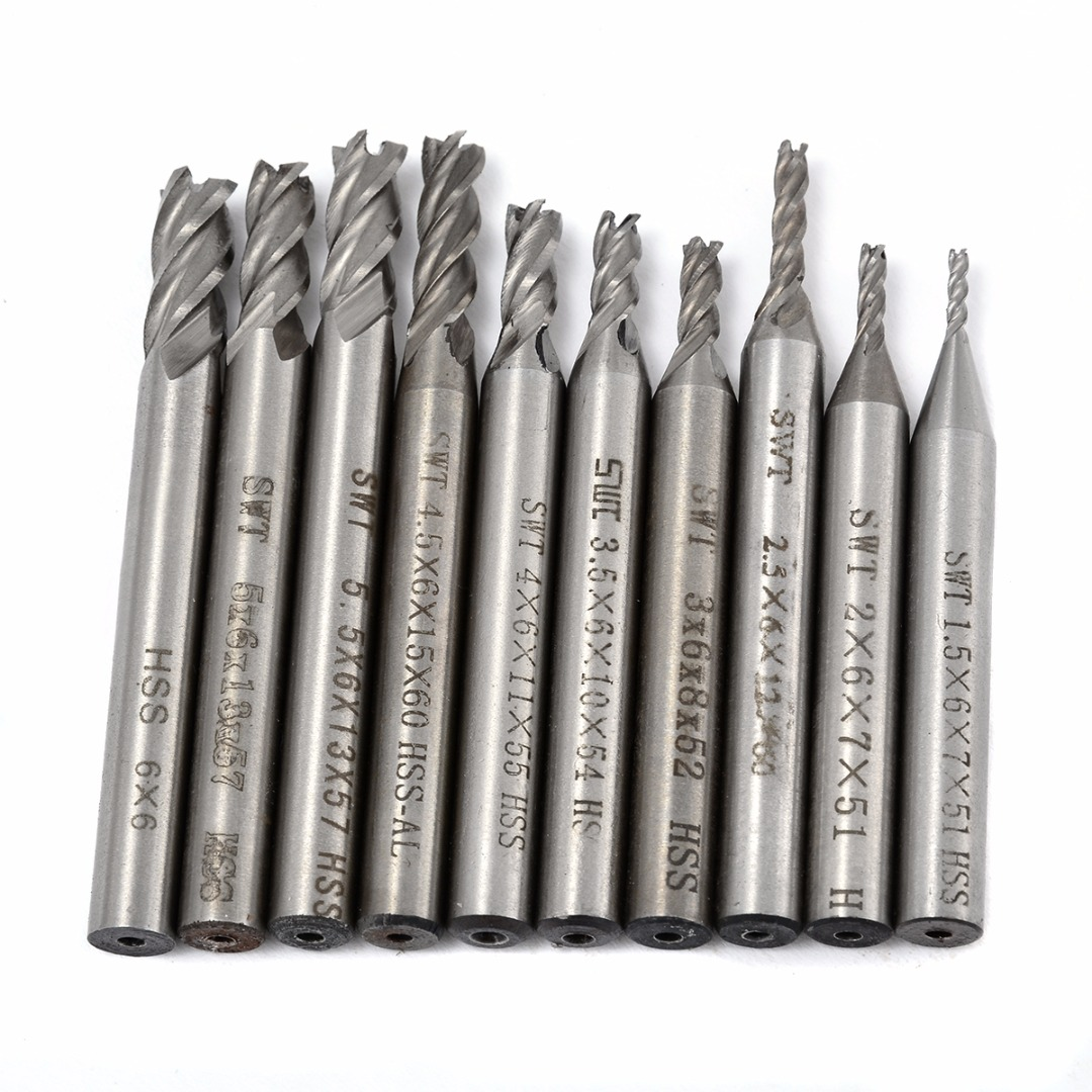 10pcs/Set HSS 4 Flutes End Mill Straight Shank CNC Cutting Bits 1.5-6mm Woodworking Milling Cutters Kit