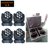 Flight Case 4IN1+4pcs/lot 7x12W RGBW 4IN1 LED Beam Moving Head Light Cree Lamp Led Effect Light with Hook 1 Year Warranty