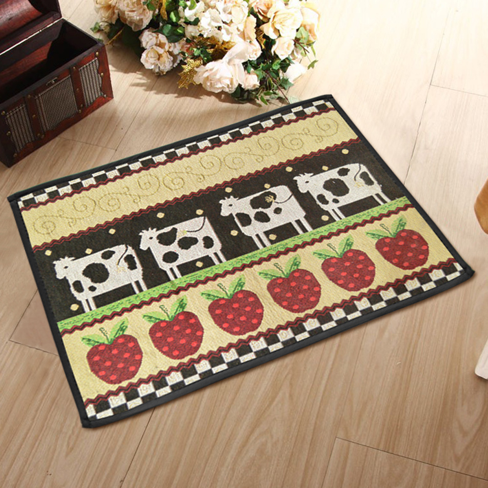 yazi country style cow pattern washable fabric kitchen non