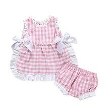 PUDCOCO Newborn Toddler Baby Girls Pink Plaids Ruffles Sleeveless Tops Vest Shorts Briefs Casual Summer Girl Clothes new