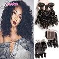 Brazilian Virgin Hair Aunty Funmi Hair Bouncy Curls 3 Bundles With Closure Bob Short Brazilian Hair Body Wave Hair With Closure