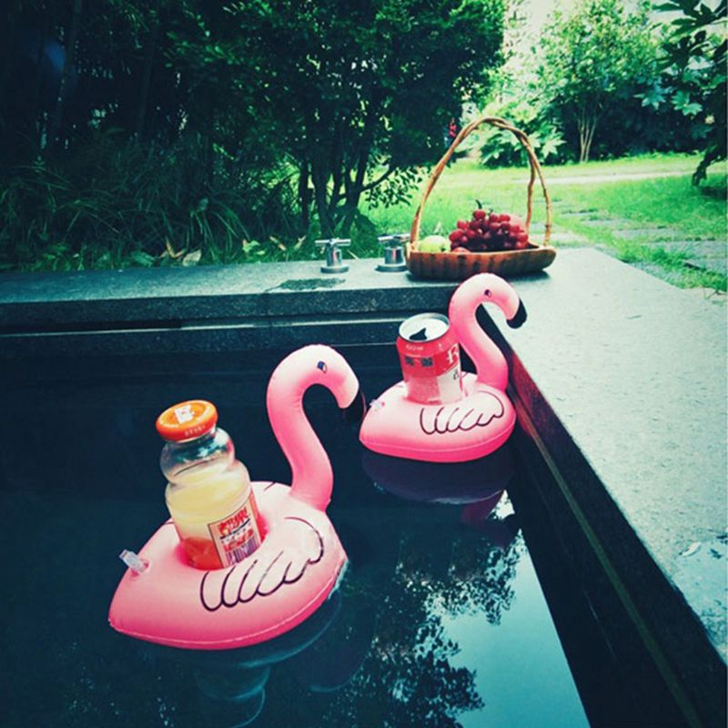 Cute Pink Flamingo Drink Holder PVC Inflatable Floating Swimming Pool Beach Party Kids Swim Beverage Holders (6)