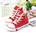 Classic Girls Canvas Shoes Polka Dot Girls Princess Bow Shoes Kids Casual Denim Shoes for ChildrenKorean Student Sneakers