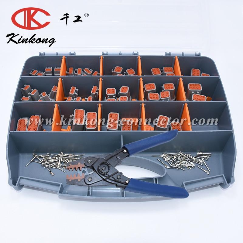 Kinkong 347 PCS Grey Deutsch DTM Series Automotive Connector Kit with Closed Barrel Crimper 22 AWG