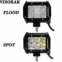 VISORAK 2Pcs 5D 4 Inch LED Beams Dual Row Spot LED Bar 30W LED Work Light Bar for Tractor Boat OffRoad 4WD 4×4 Truck SUV ATV