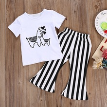 Girls Clothing Sets 2019 New Baby Girl Outfits baby summer clothes Kids T-shirt Blouse Tops Long Striped Pants Trousers 2PCS Set summer set 2017 my girls little pony clothing sets long sleeve t shirt legging costume for kids tight girl pants child clothes