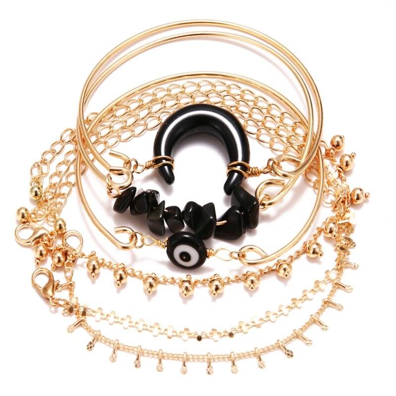 KISSWIFE браслет в стиле бохо ракушка Луна кисточкой браслет для женщин Ретро Геометрические выразительные очаровательные вечерние свадебные ювелирные изделия аксессуары - Окраска металла: KWZJ0458