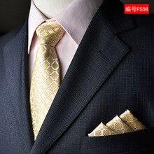 NINIRUSI  Mens Silk Neck Tie Pocket Square Set 2016 New 8cm Gravata Print Wedding Ties For Men Slim Necktie 9 Colors