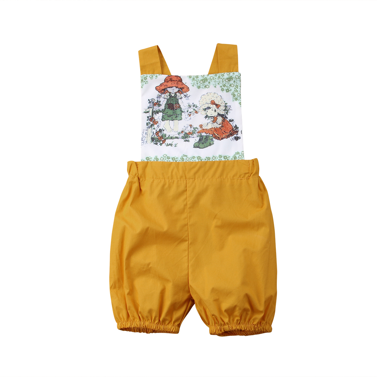 Soft cotton Newborn Kids Baby Girls Clothes Floral Outfits Set Sleevelsee Yellow Lace elasticatedJumpsuit Romper Playsuit
