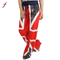 Women British Flag Drawstring Wide Leg Pants Leggings Patchwork Ankle-Length lastic Waist Loose 1PC Pants Casual Spring Summer