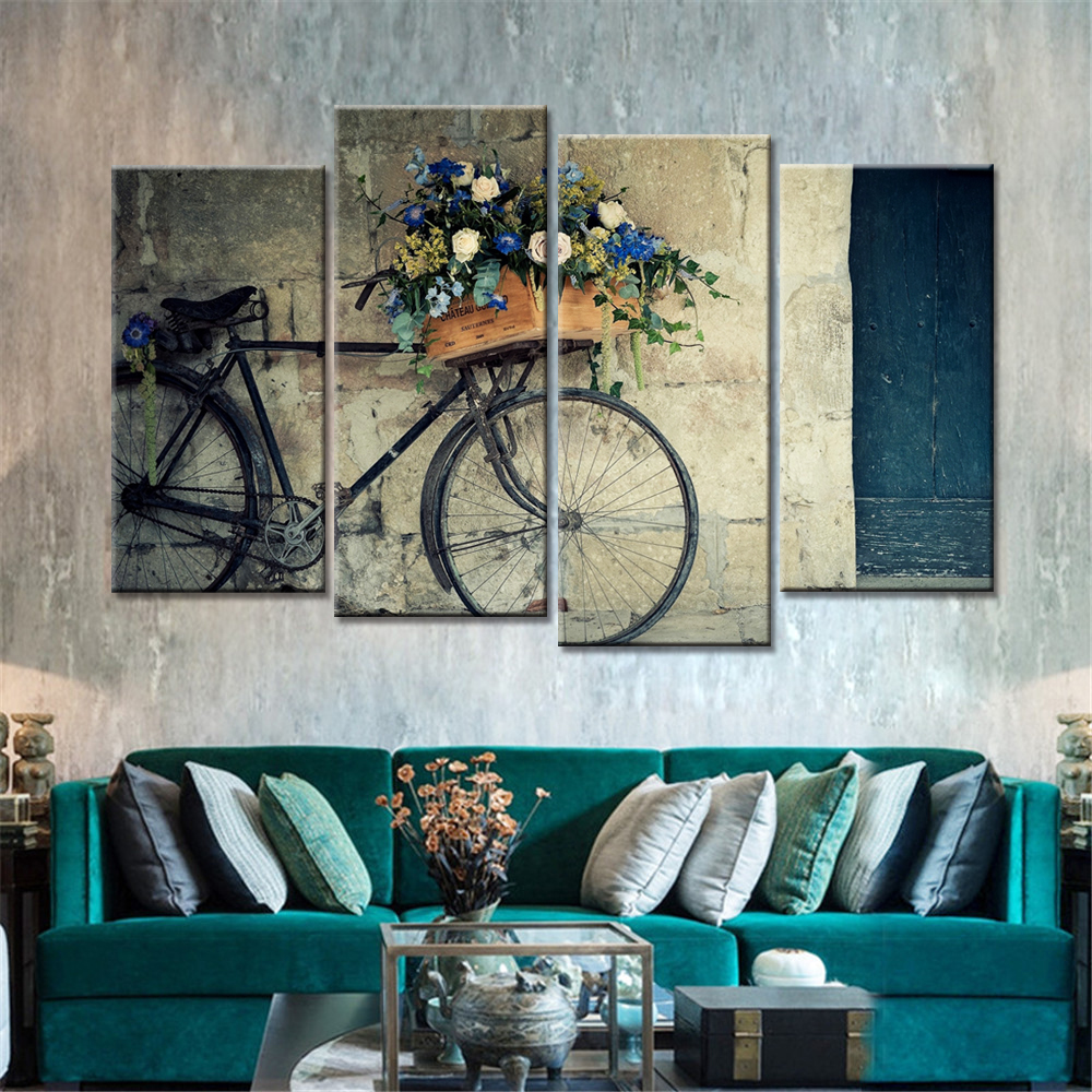 4 pieces home decor drop shipping cheap wall art for Bargain home decor