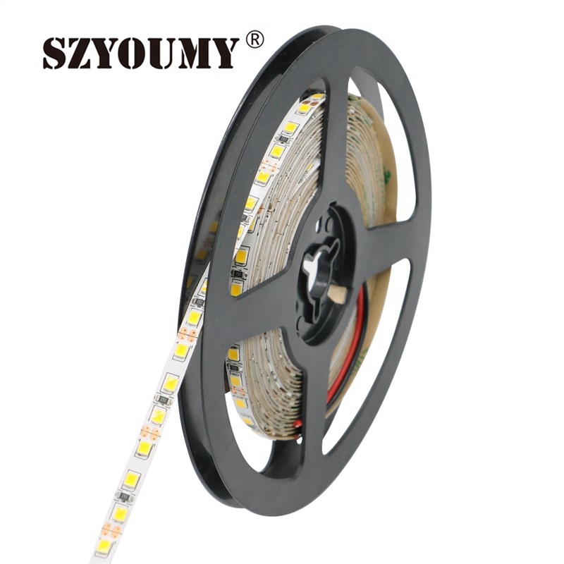SZYOUMY 12V 2835 LED Strip 5mm 16.4ft Slim IP20 Non-Waterproof 120leds/M 5m/Roll White/Warm White