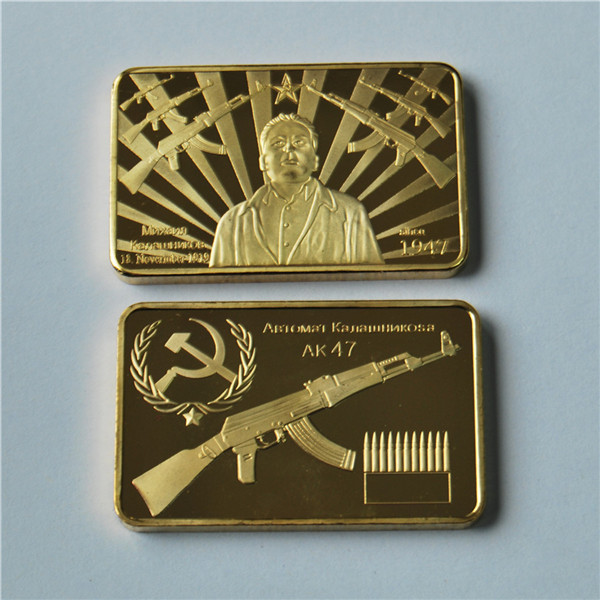 AK 47 Golden Square Collection Arts Gifts Souvenir For Gift gold bar 1 Oz 24k Gold Plated bullion bar in Non currency Coins from Home Garden