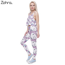 Zohra New Fashion Women Leggings Digital Printed Trousers Pink White Unicorn Legging Slim High Waist Legins Women Pants