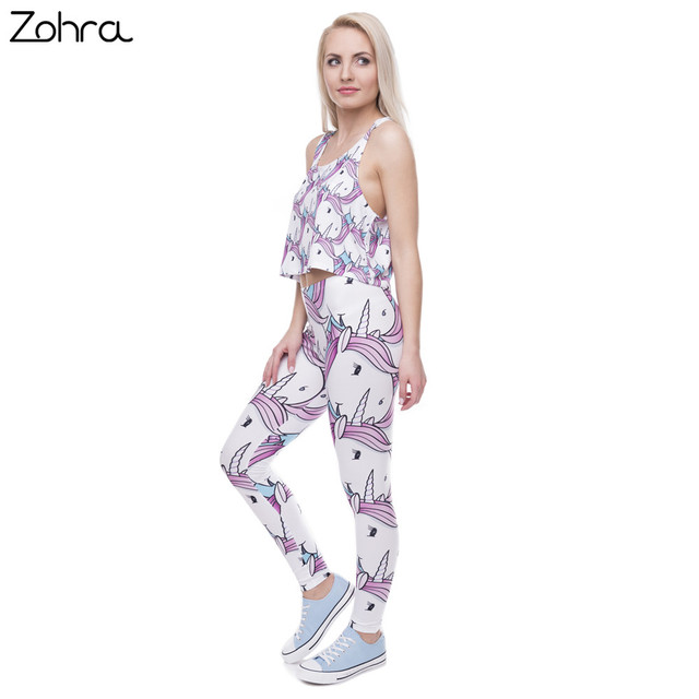 Fashion Women Leggings Digital Printed Pink White Unicorn Legging Slim High Waist Legins Women Pants