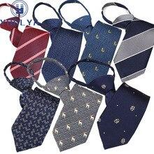 40 Colors Pre-tied Neck Tie Mens Boys Unisex Woven Jacquard Dot Print Skinny Zipper Ties Bridegroom Party Dress Wedding Necktie