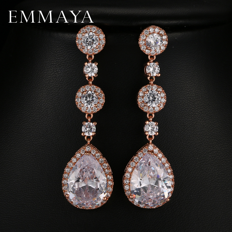 EMMAYA Elegant Attractive Rose/White Gold Color Long Clear Cubic Zirconia Water Drop Earrings for Women stylish rhinestoned water drop rose gold plating necklace