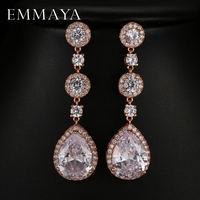 EMMAYA Elegant Attractive Rose White Gold Plated Long Clear Cubic Zirconia Water Drop Earrings For Women