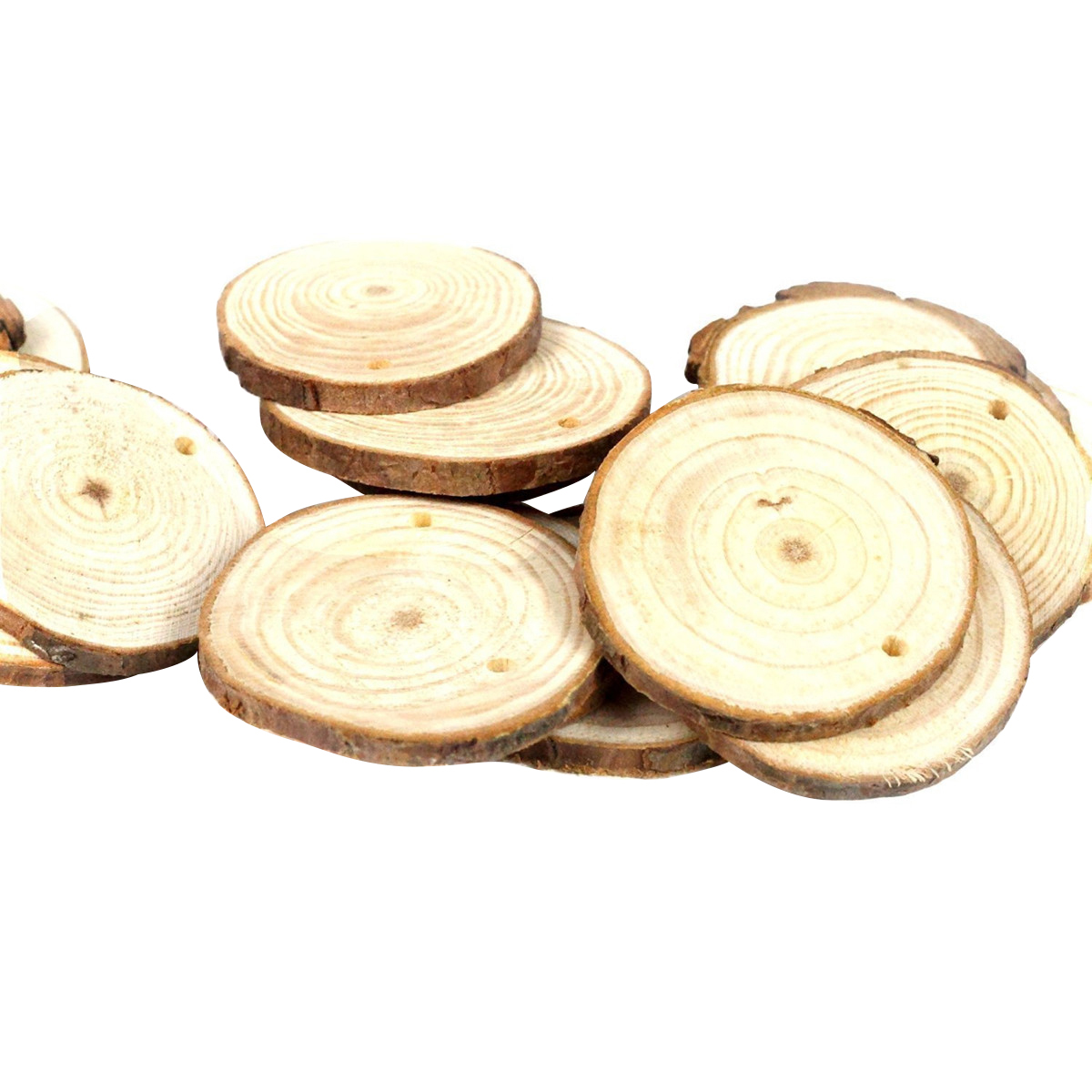 20pcs 10 12CM Wood Cutout Circle Round Log Slices Discs For DIY ...