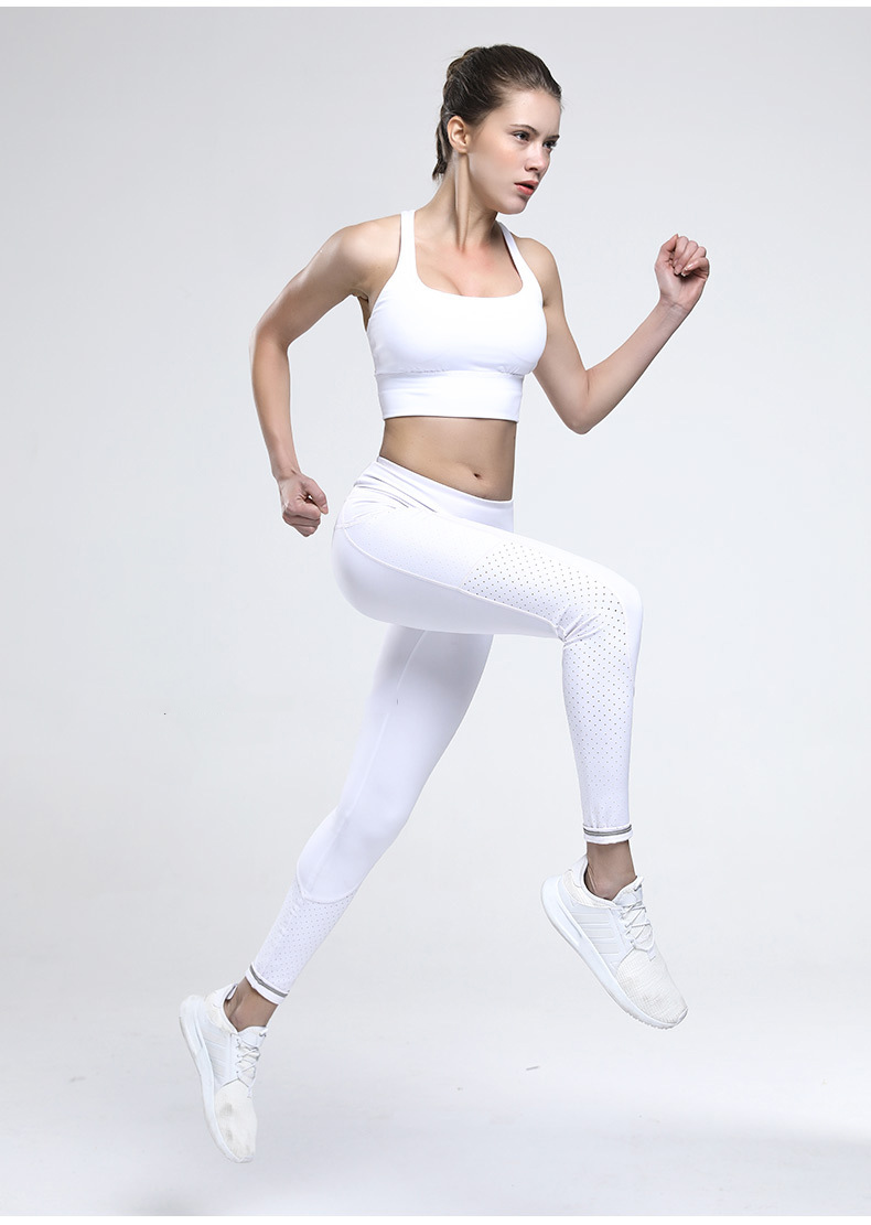 Stretch High Waist Out Pockets Laser Cut Tights White Reflective Leggings