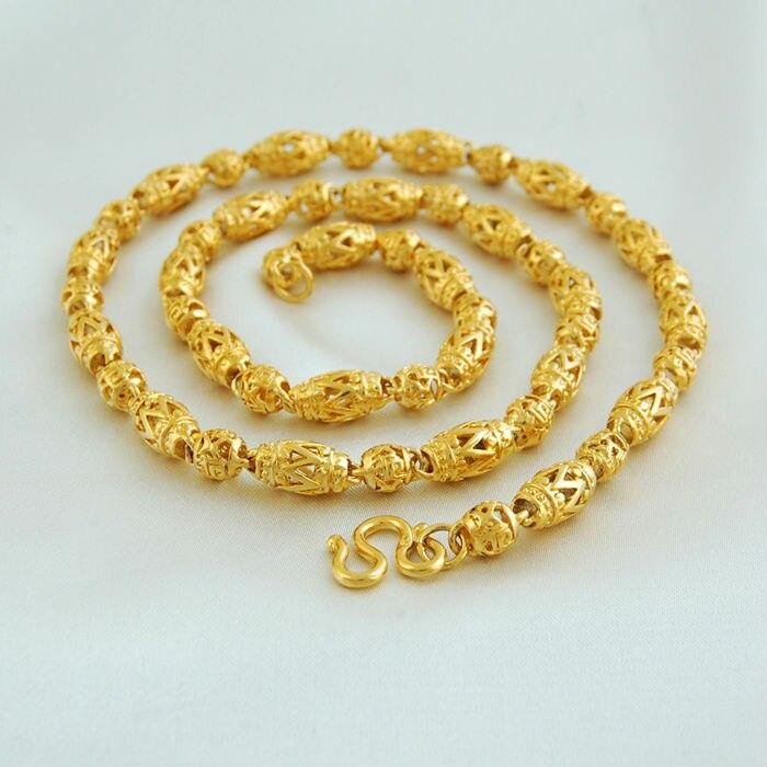 New Fashion Jewelry Vacuum Plating 24K Gold Women/Men 55cm ...